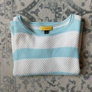 ST. JOHN Blue & White Honeycomb Stripe Sweater L